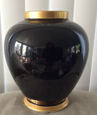 "1978 Fitz and Floyd Inc. RENAISSANCE Black & Gold 7"" Vase Excellent Condition"