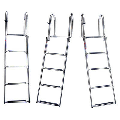 Pontoon Boat Ladder Rear Entry Stainless Folding  Extra Wide Step Best Price New