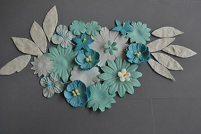 Paper Flower Petals Leaf 27 Pce Scrapbooking Embellishment Diy Invitation Craft