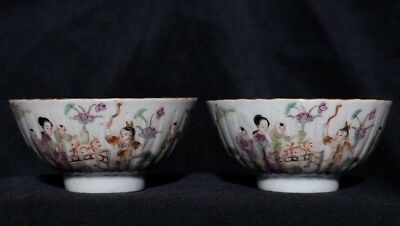 Pair Of Rare China Painting Qing Dynasty Antique Famille Porcelain Bowls