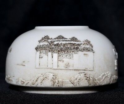 Exquisite Rare Chinese Porcelain Brush Washer Ink Pot Marked WangBingRong