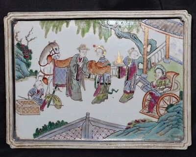 Rare Old Chinese Hand Painting Figures Famille Porcelain Panel Plaque