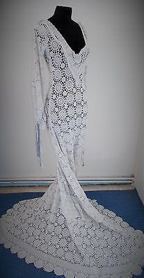 Rare French Vintage Hand Crochet Wedding Dress In Wonderful Vintage Condition