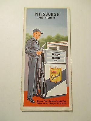 Vintage ATLANTIC PITTSBURGH PA Oil Gas Service Station CITY Road Map~1962?