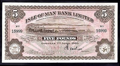 Isle of Man Bank Limited. Five Pounds, No 15999, 7-4-1960, Good Very Fine.