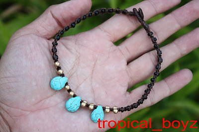 10 Handmade Blue Water Drop Polymer Waxed Nylon Anklets Wholesale