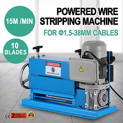 370W Powered Electric Wire Stripping Machine 10 Blades Metal Cable 220V 1.5-38mm