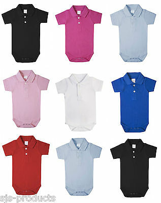 100% Cotton BABY BOY/GIRL Babygrow Vest Grow Bodysuit Polo Shirt Collared Top UK