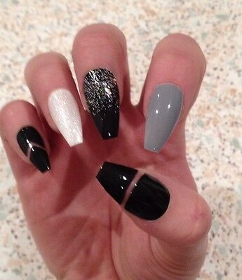 Hand Painted False Nails Black Grey, White Glitter Long Coffin Full Cover Tips