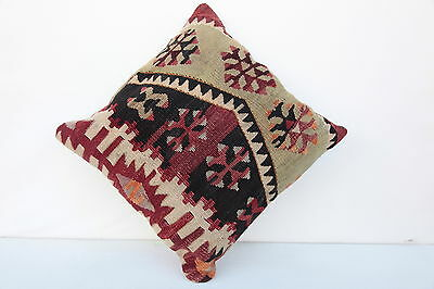 beautiful Turkish kilim pillow,vintage pillow,tribal pillow,16x16 kilim pillow