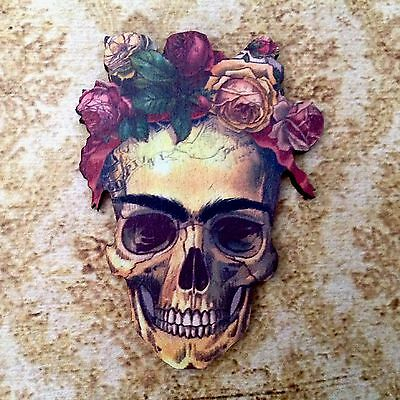 New floral skull wood brooch Mexican gothic style jewellery  Unique wooden pin