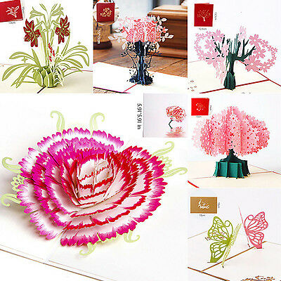 Hot 3D Pop Up Cards Valentine Lover Happy Birthday Greeting Cards Invitations