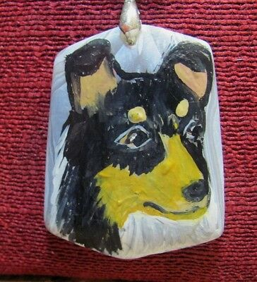 Smooth Collie, tri, hand painted on slight wedge shaped, frosted Onyx Agate pend