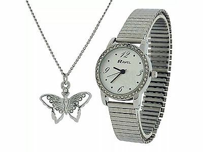 Ravel Ladies Expander Strap Watch and Butterfly Pendant Gift Set RJS-003