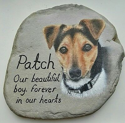 Pet memorial stone, hand painted portrait, personalised wording made to order