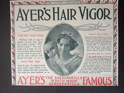Antique 1898 Ad (1800-13)~Ayer's Hair Vigor Tonic For Hair Health