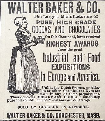 Antique 1895 Ad (1800-16)~Walter Baker & Co. Cocoa Highest Award, Dorchester, Ma