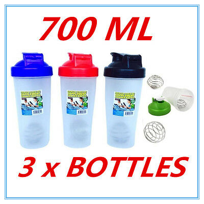 3X GYM Protein Supplement Drink Blender Mixer Shaker Shake Ball Bottle 700ml FW