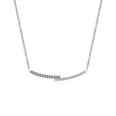 """Coffee and White Diamond Double Bar Pendant Necklace 14K White Gold/ 18"""" Chain"""