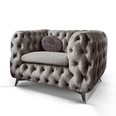 Chesterfield Sofa 3 Sitzer Emma Grau Couch Lounge Samt Stoff