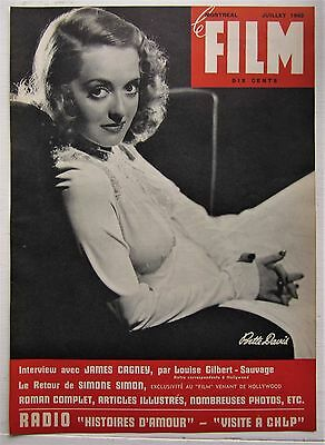 1943 French Montreal Canadian Magazine Cover Le Film Bette Davis