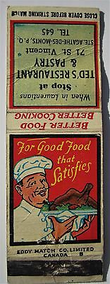 Antique  Matchbook Cover Ted's Restaurant Bakery Ste Agathe Des Monts Quebec