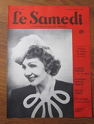 1941 Canadian  French Magazine Cover Claudette Colbert Hollywood Star