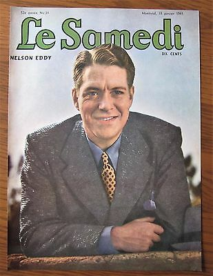 1941 Canadian  French Magazine Cover Nelson Eddy Hollywood Star