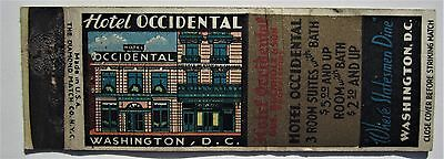 Antique  Matchbook Cover The Occidental Hotel Washington Dc Rooms $5