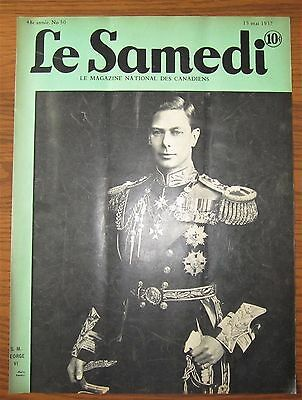 Original 1937 French Canadian Magazine Cover King George Vi Royalty