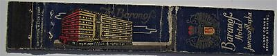 Antique  Matchbook Cover Baranof Hotel Juneau Alaska
