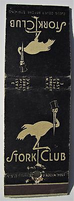 Antique  Matchbook Cover Stork Cocktail Club New York 3 East 53Rd Street