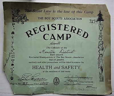 Rare 1945 Canadian Scout Scouting Canada Registered Camp Sign Moncton District