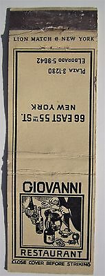 Antique  Matchbook Cover Giovanni Restaurant 66 East 55Th St New York