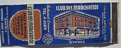Antique  Matchbook Cover Club Des Marchands Quebec City