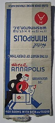 Antique  Matchbook Cover Hotel Annapolis Washington Dc