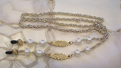 Elegant Faux Pearl Gold Plate Chain Eyeglass Holder Chain Necklace Lanyard OOAK
