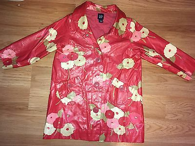 EUC Girls Baby Gap Rain Coat Jacket Flower 4T Waterproof Lined 4 3 Pink Spring