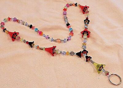 Colorful Trumpet Flower & Crystal Glass Bead ID Badge Lanyard Necklace SP OOAK