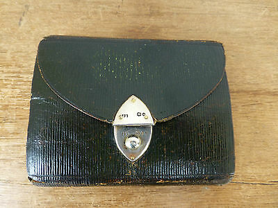 Victorian Silver Mounted Leather Sewing Compendium - London 1892