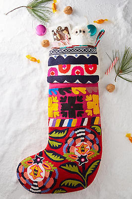 NWT Anthropologie Embroidered Stocking Christmas Stuffer Embroidery Wool Holiday