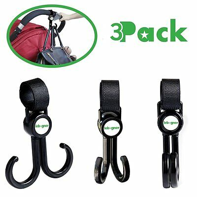 Stroller Hooks By Lebogner - 3 Pack Multi-Purpose Rotating Hooks Great For Stro