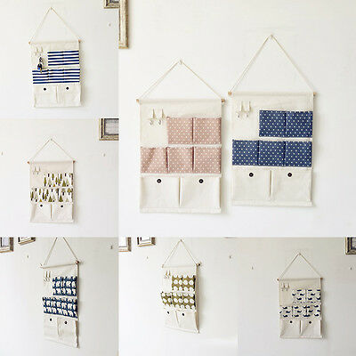 1Pc Hanging Storage Bag-Pockets Organizer Cotton Cloth Wall Hook