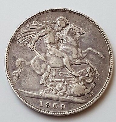 1900 Lxiv - Queen Victoria - Solid Silver Coin - One Crown / Five Shillings