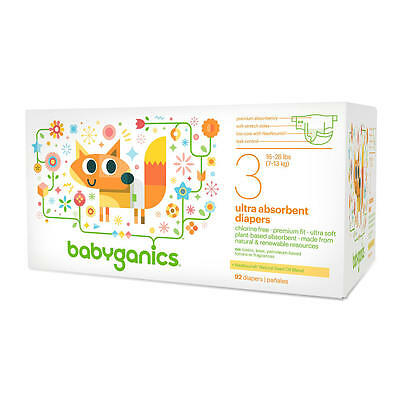 Babyganics Ultra Absorbent Disposable Diapers Size 3 Value Pack -92 Count