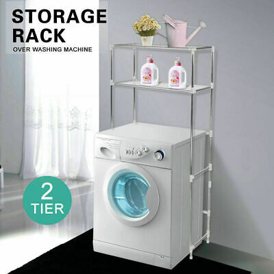 2 Tier Over Laundry Washing Machine Storage Rack Shelf Unit Organizer