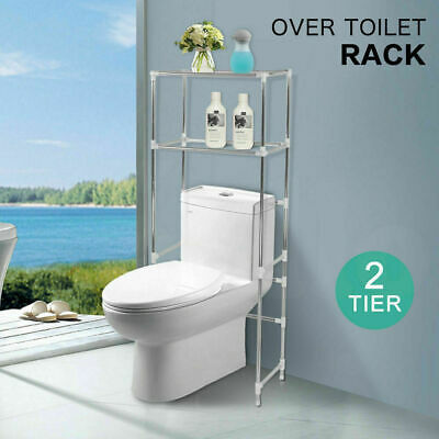 2 Tier Over Toilet Bathroom Storage Rack Shelf Unit Organizer