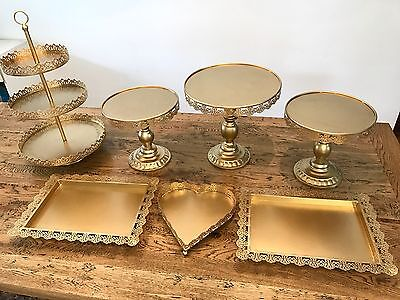 Set of 7 Pieces Gold Cupcake Cake Stand Dessert Candy Bar Heart Tray
