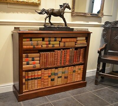 Fabulous 19th Century Mahogany Open Bookcase with decorative brass gallery