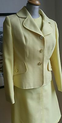 PERFECT 14 (10) Vintage WINDSMOOR Pale YELLOW Suit DRESS & JACKET Jackie Kennedy